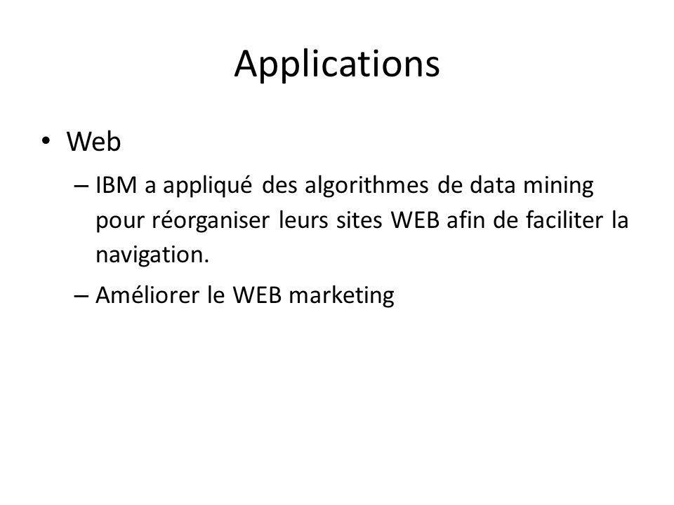 Applications Web – IBM a appliqué des algorithmes de data mining pour réorganiser leurs sites WEB afin de faciliter la navigation. – Améliorer le WEB
