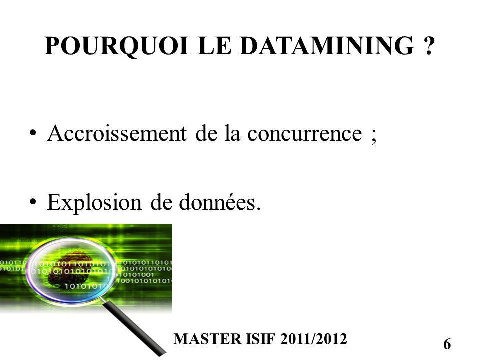 POURQUOI LE DATAMINING ? Accroissement de la concurrence ; Explosion de données. MASTER ISIF 2011/2012 6