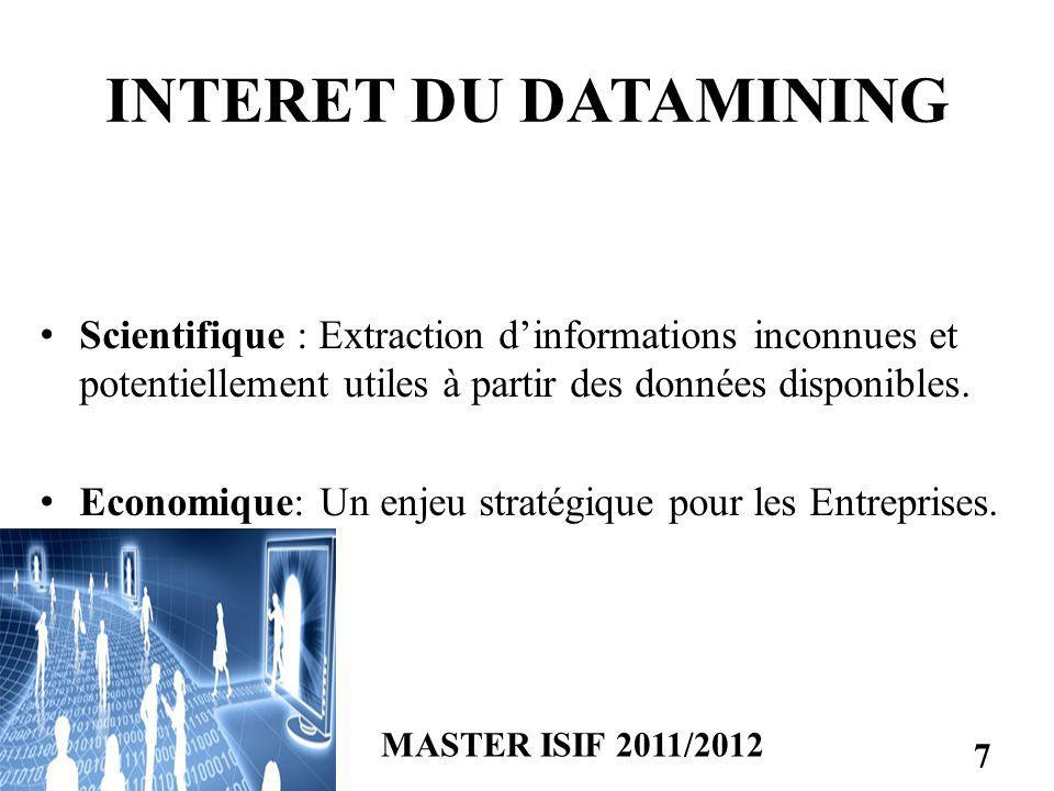 INTERET DU DATAMINING Scientifique : Extraction dinformations inconnues et potentiellement utiles à partir des données disponibles. Economique: Un enj