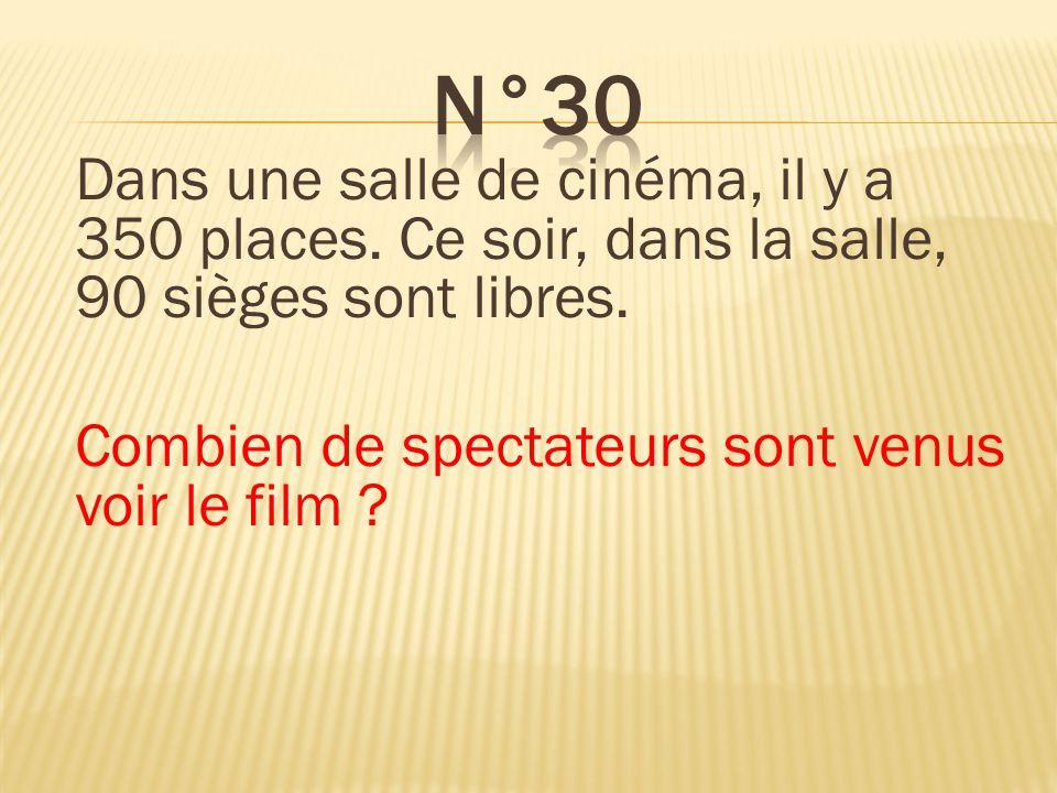 Dans une salle de cinéma, il y a 350 places. Ce soir, dans la salle, 90 sièges sont libres. Combien de spectateurs sont venus voir le film ? 260 spect