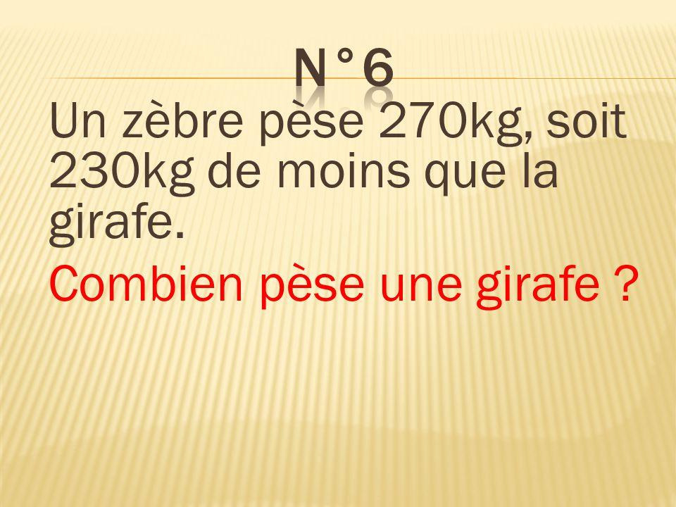 Un zèbre pèse 270kg, soit 230kg de moins que la girafe. Combien pèse une girafe ? Une girafe pèse 500kg.