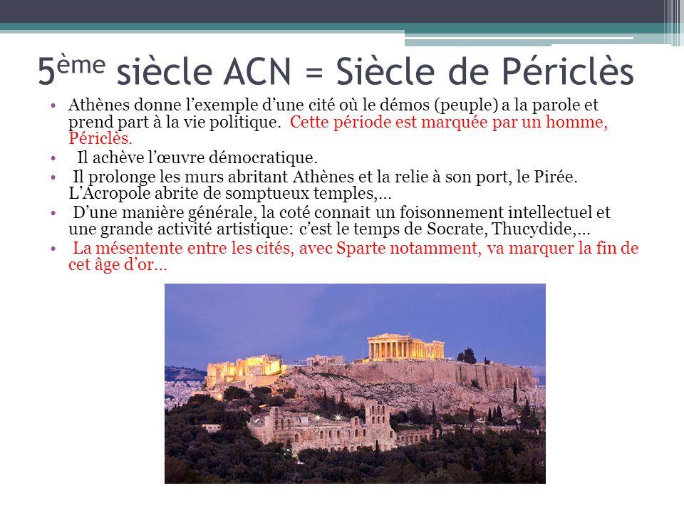5 ème siècle ACN = Siècle de Périclès Athènes donne lexemple dune cité où le démos (peuple) a la parole et prend part à la vie politique. Cette périod