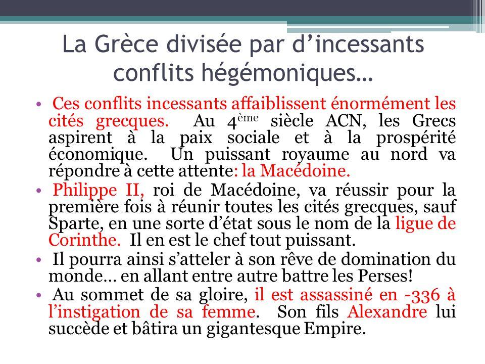 La Grèce divisée par dincessants conflits hégémoniques… Ces conflits incessants affaiblissent énormément les cités grecques. Au 4 ème siècle ACN, les