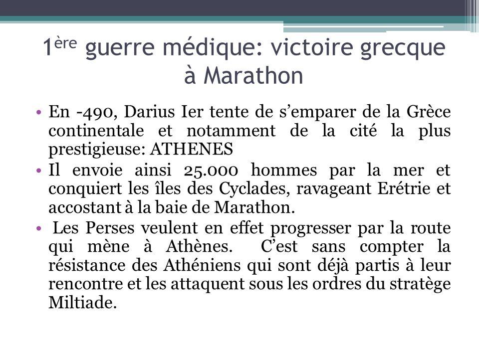 1 ère guerre médique: victoire grecque à Marathon En -490, Darius Ier tente de semparer de la Grèce continentale et notamment de la cité la plus prest