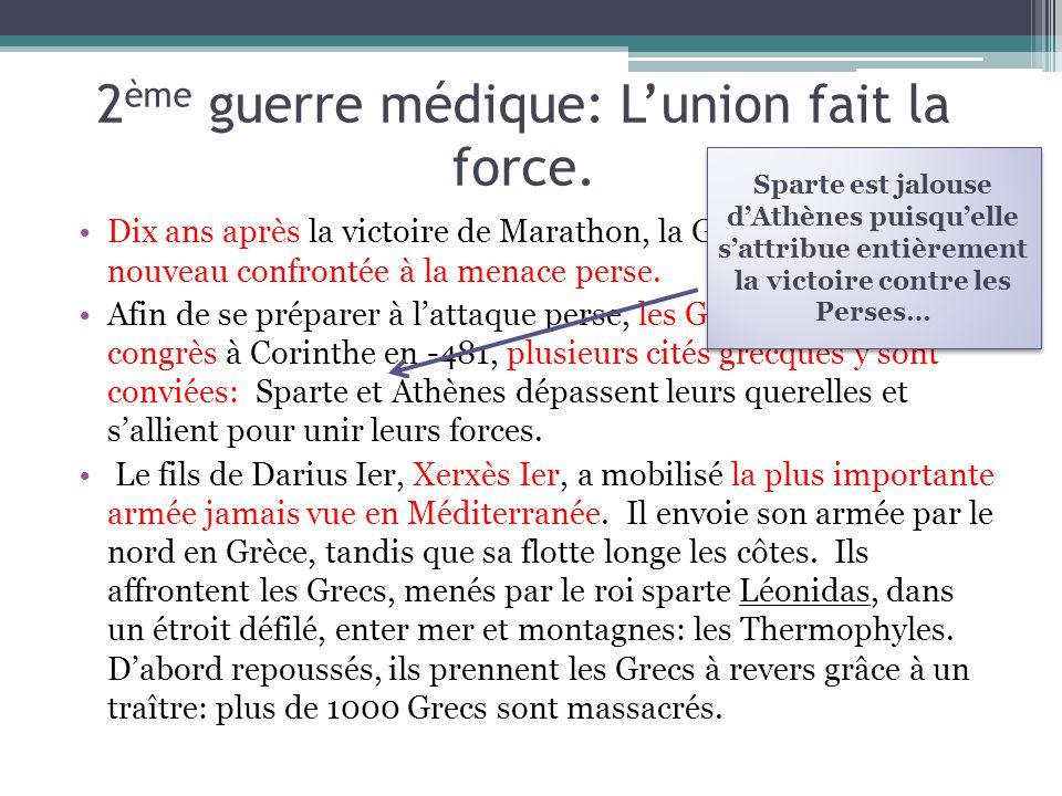 2 ème guerre médique: Lunion fait la force. Dix ans après la victoire de Marathon, la Grèce se retrouve à nouveau confrontée à la menace perse. Afin d