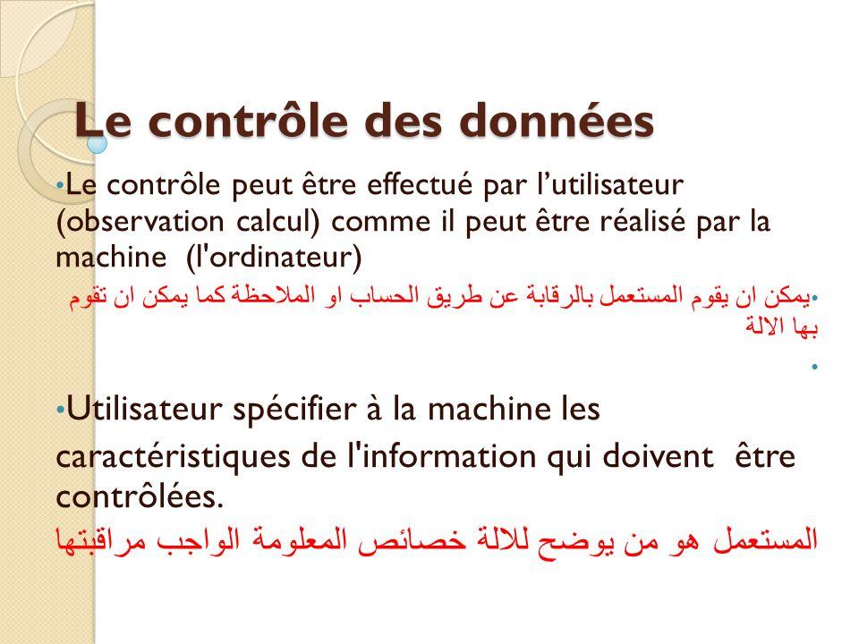 Le contrôle des données