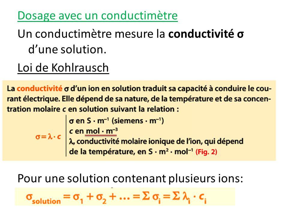 Dosage avec un conductimètre Un conductimètre mesure la conductivité σ dune solution.