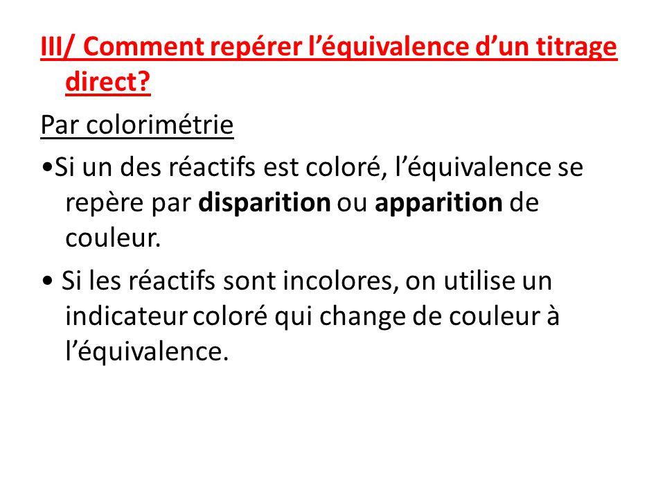 III/ Comment repérer léquivalence dun titrage direct.