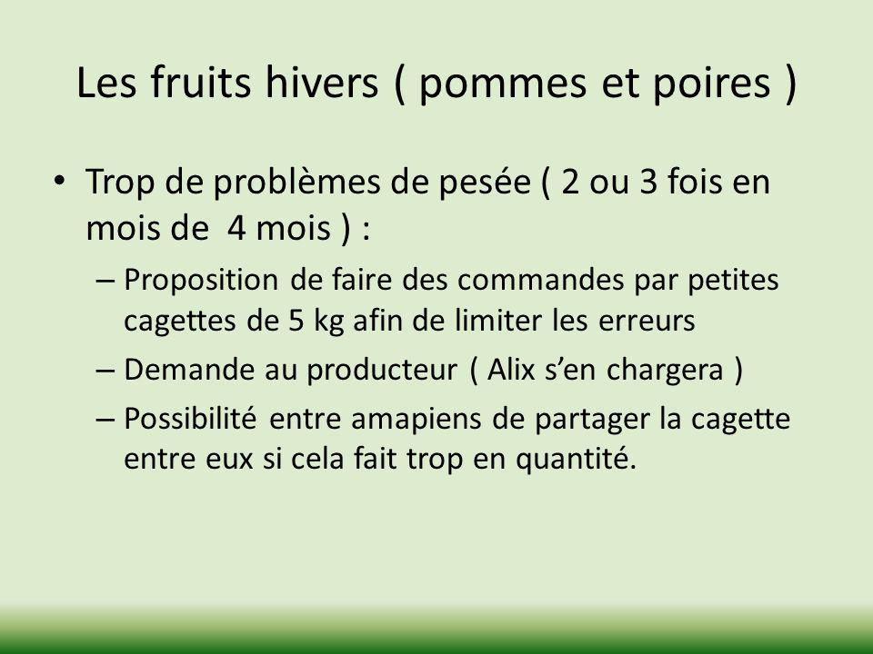 Les fruits hivers ( pommes et poires ) Trop de problèmes de pesée ( 2 ou 3 fois en mois de 4 mois ) : – Proposition de faire des commandes par petites