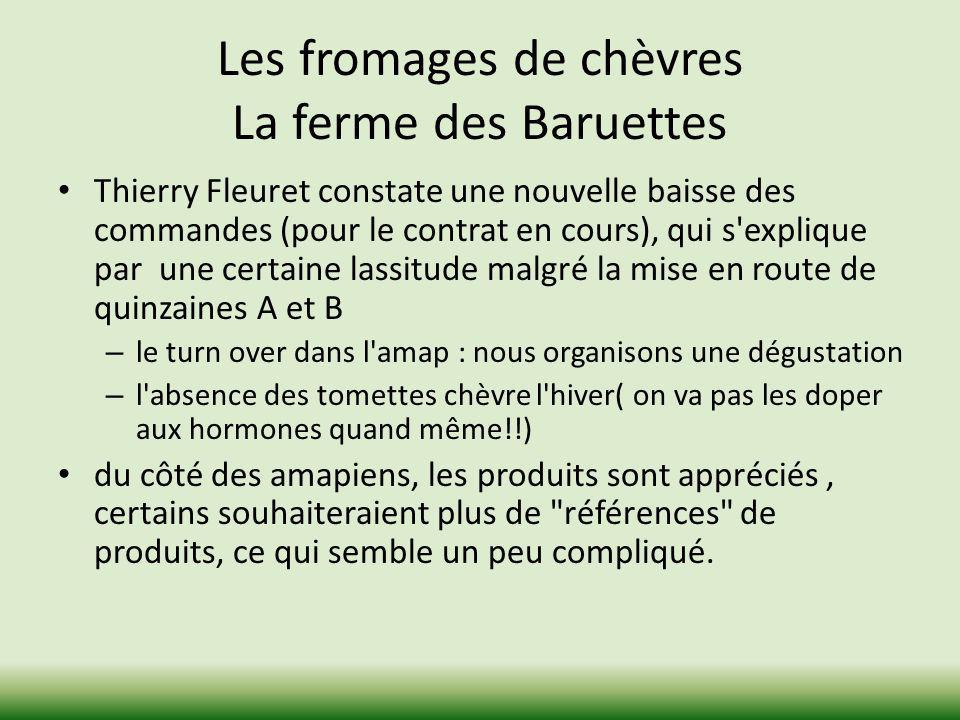 Les fromages de chèvres La ferme des Baruettes Thierry Fleuret constate une nouvelle baisse des commandes (pour le contrat en cours), qui s'explique p
