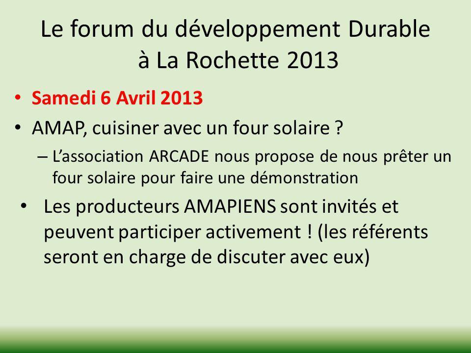 Le forum du développement Durable à La Rochette 2013 Samedi 6 Avril 2013 AMAP, cuisiner avec un four solaire ? – Lassociation ARCADE nous propose de n