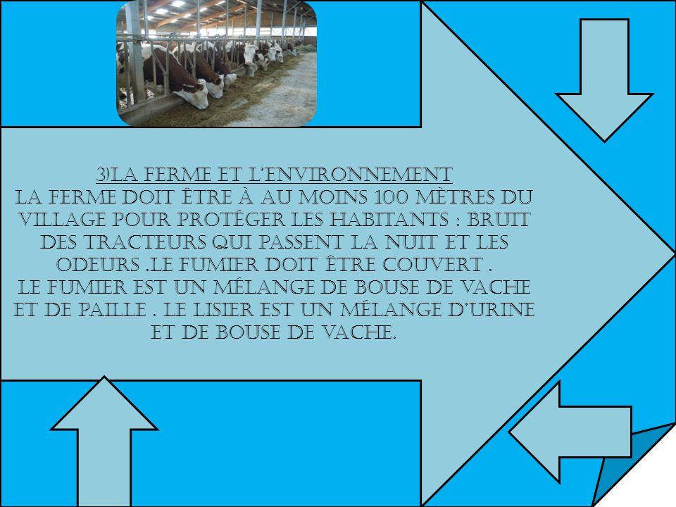 3)La ferme et lenvironnement La ferme doit être à au moins 100 mètres du village pour protéger les habitants : bruit des tracteurs qui passent la nuit