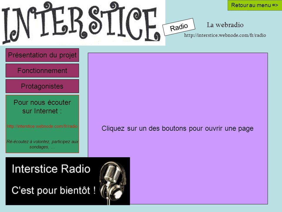 La webradio http://interstice.webnode.com/fr/radio Retour au menu => Cliquez sur un des boutons pour ouvrir une page Présentation du projet Pour nous écouter sur Internet : http://interstice.webnode.com/fr/radio Ré-écoutez à volontez, participez aux sondages, … Fonctionnement Protagonistes Radio