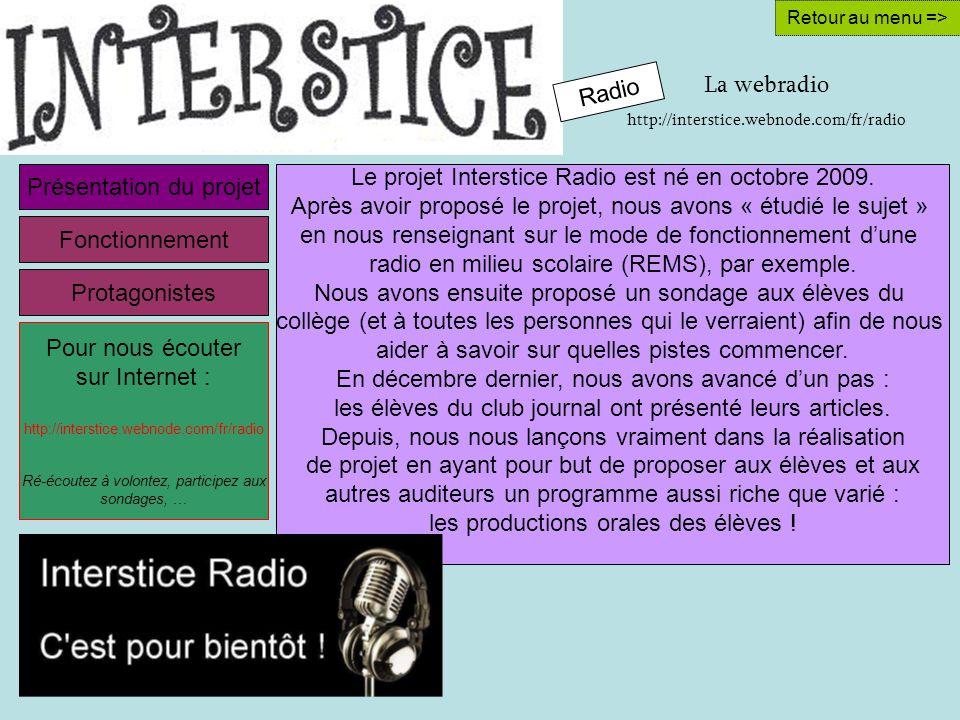 La webradio http://interstice.webnode.com/fr/radio Retour au menu => Le projet Interstice Radio est né en octobre 2009.
