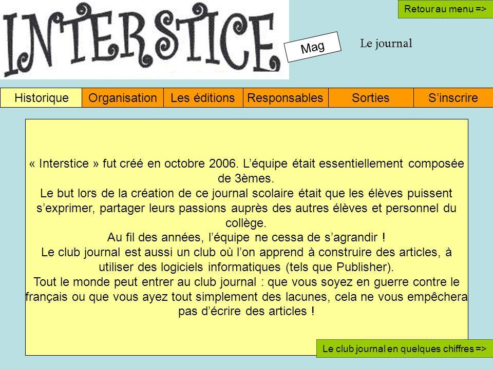 Mag Le journal HistoriqueOrganisationLes éditionsResponsablesSinscrireSorties Retour au menu => « Interstice » fut créé en octobre 2006.