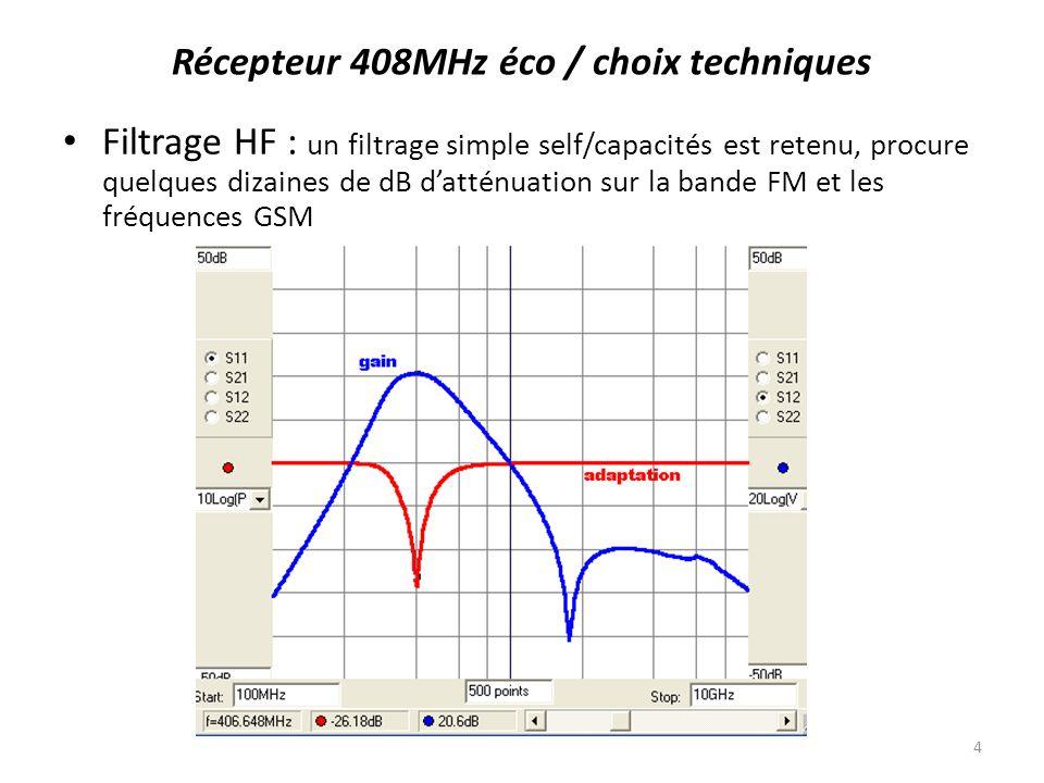 Récepteur : nous sommes partis dun récepteur très bas de gamme sur 433MHz (module télécommande Aurel à 8) : bande passante 4MHz, sortie démodulation damplitude ; des mesures ont montré son aptitude à détecter un bruit large bande avec une sensibilité meilleure que -100dBm (2.2µV), soit un facteur de bruit meilleur que 10dB ; lajustement à 408MHz et le réglage de fréquence fin (ajout diode varicap) ont été vérifiés Récepteur 408MHz éco / choix techniques 5
