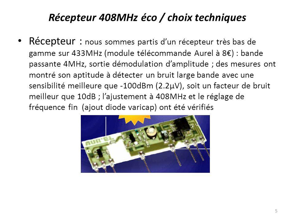 Analyse signal : le récepteur produit un signal basse fréquence (bruit) modulé en amplitude (Dicke switch) vers 1024Hz : appliqué sur lentrée micro/ligne dun PC et filtré, on devrait détecter aisément le signal reçu sous forme dun composante à 1024Hz : Ce résultat peut être amélioré par des moyennes, ici 10 mesures de 100ms : Récepteur 408MHz éco / choix techniques 6