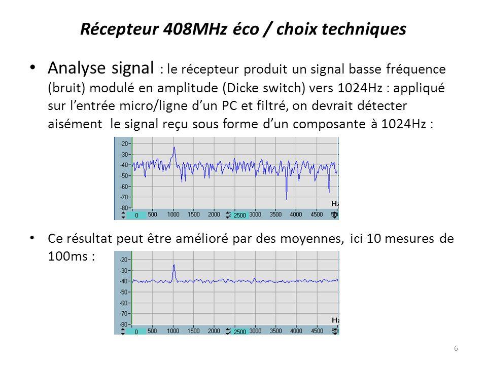 Analyse signal : le récepteur produit un signal basse fréquence (bruit) modulé en amplitude (Dicke switch) vers 1024Hz : appliqué sur lentrée micro/li