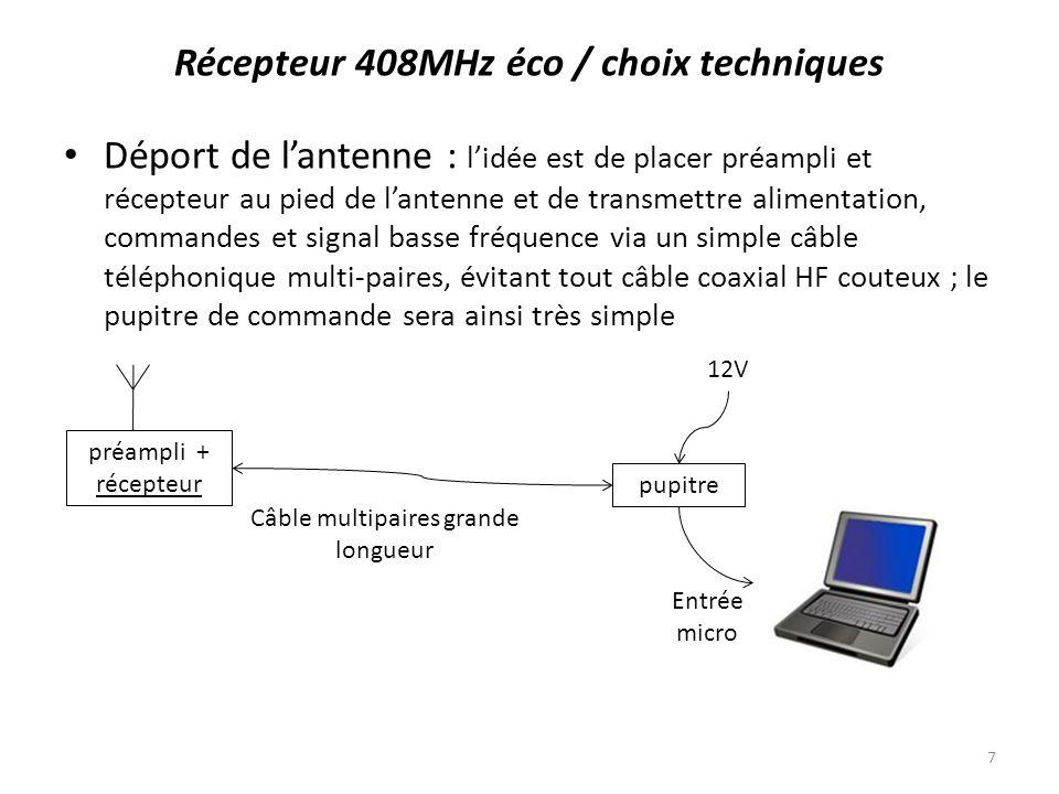 Récepteur 408MHz éco / schéma envisagé Le Dicke switch est constitué dune paire de diodes de commutation, lhorloge à 1024Hz provient dun quartz de montre à 32768Hz.