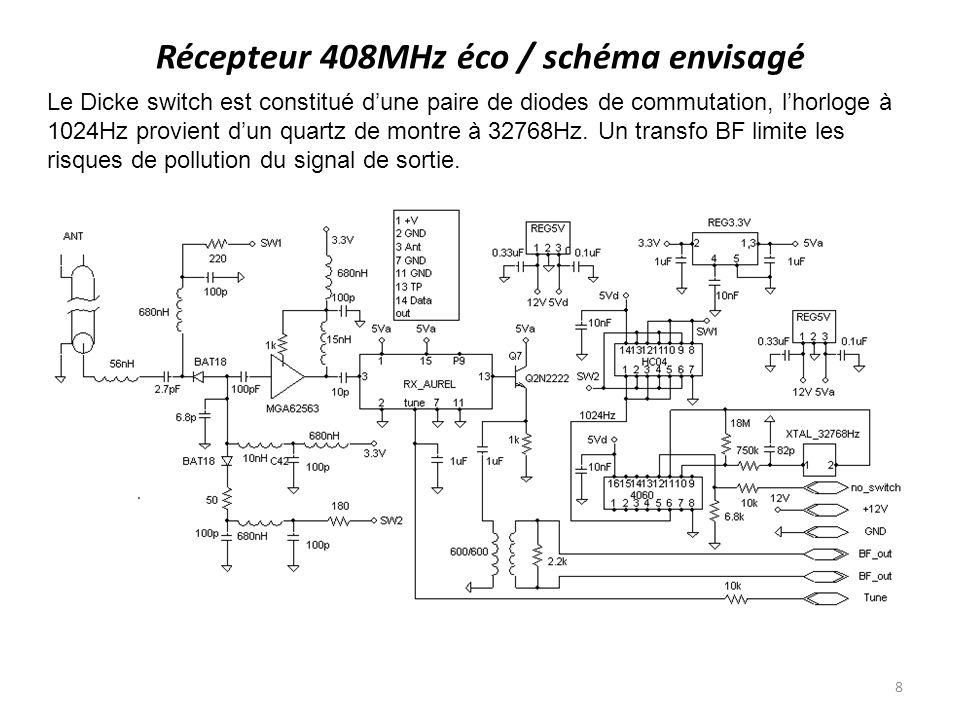 Récepteur 408MHz éco / schéma envisagé Le Dicke switch est constitué dune paire de diodes de commutation, lhorloge à 1024Hz provient dun quartz de mon