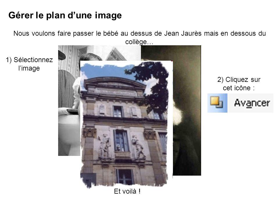Gérer le plan dune image Nous voulons faire passer le bébé au dessus de Jean Jaurès mais en dessous du collège… 1) Sélectionnez limage 2) Cliquez sur cet icône : Et voilà !
