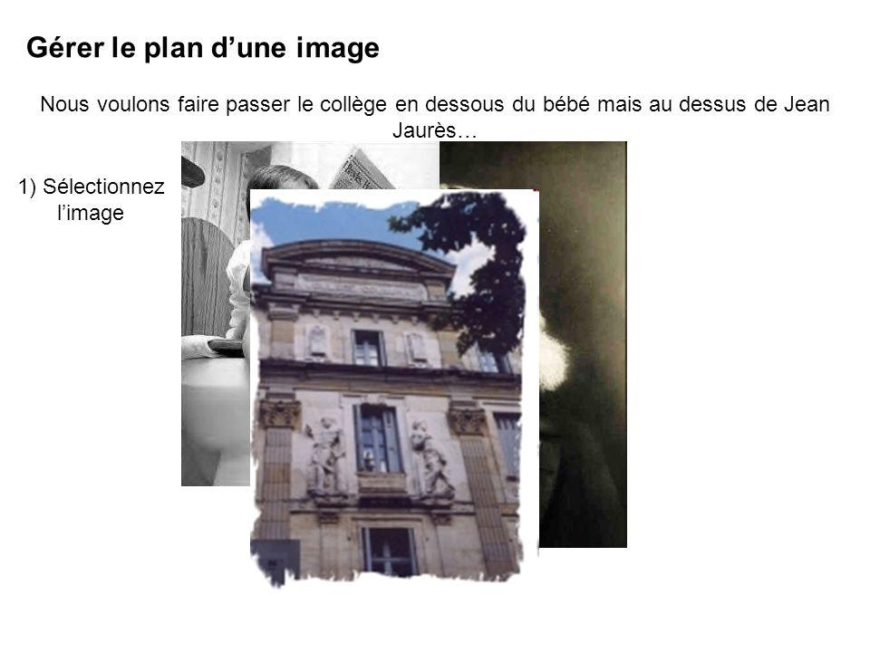 Gérer le plan dune image Nous voulons faire passer le collège en dessous du bébé mais au dessus de Jean Jaurès… 1) Sélectionnez limage