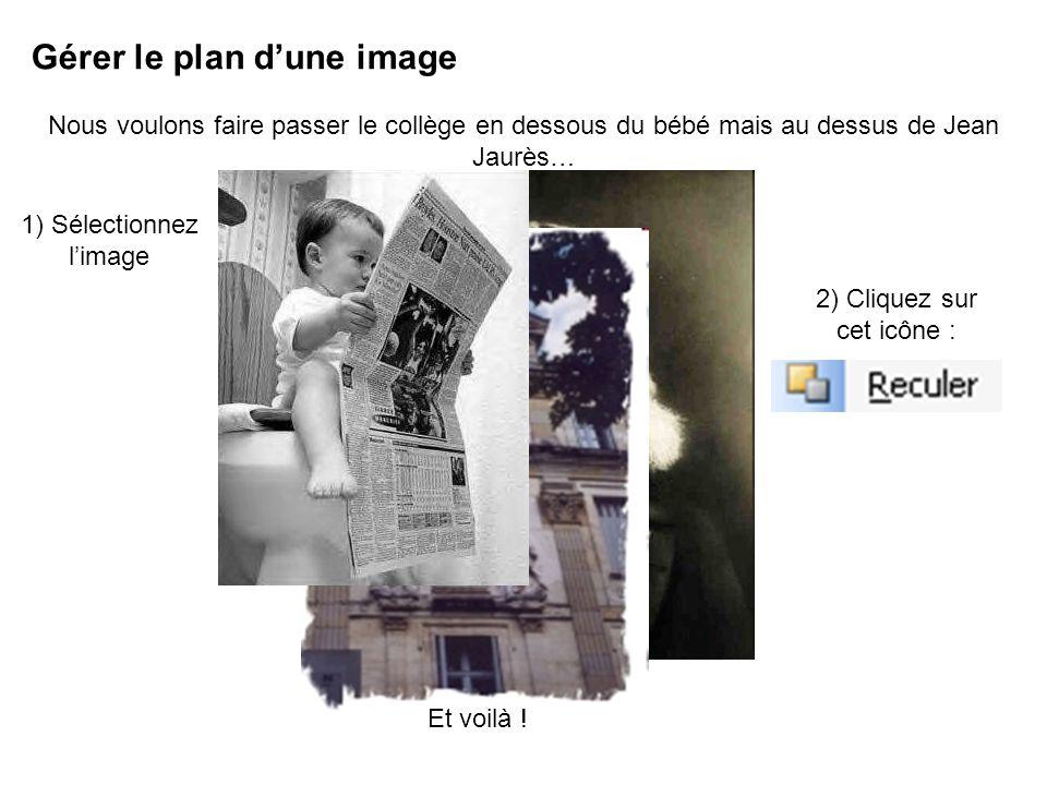 Gérer le plan dune image Nous voulons faire passer le collège en dessous du bébé mais au dessus de Jean Jaurès… 1) Sélectionnez limage 2) Cliquez sur cet icône : Et voilà !