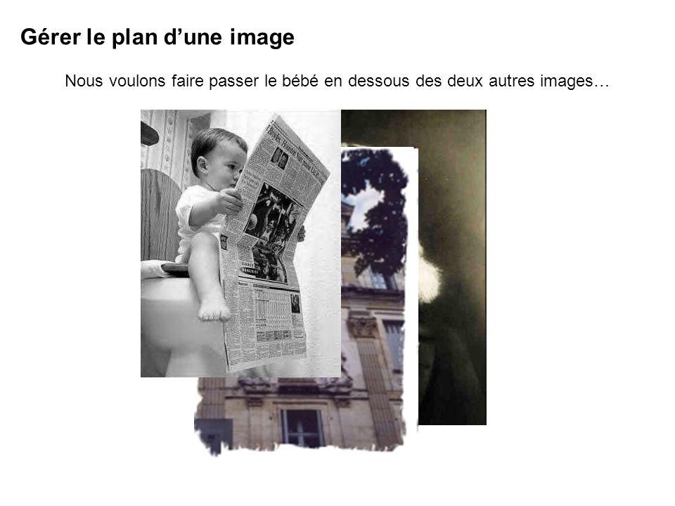 Gérer le plan dune image Nous voulons faire passer le bébé en dessous des deux autres images…