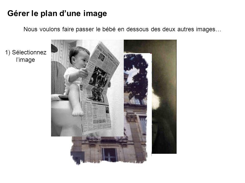 Gérer le plan dune image Nous voulons faire passer le bébé en dessous des deux autres images… 1) Sélectionnez limage