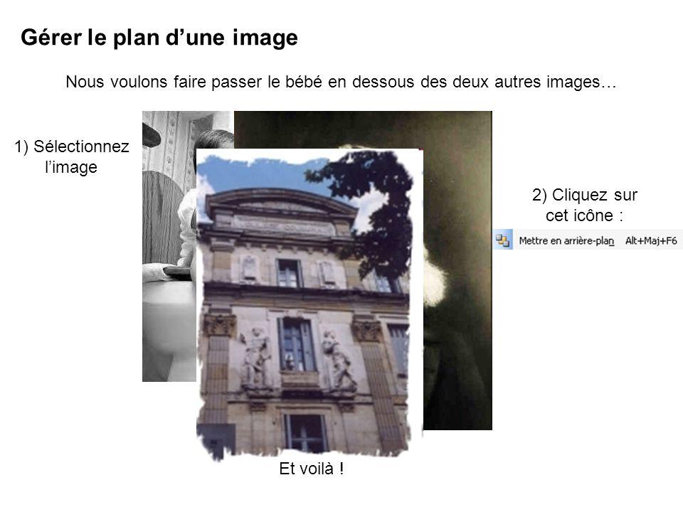 Gérer le plan dune image Nous voulons faire passer le bébé en dessous des deux autres images… 1) Sélectionnez limage 2) Cliquez sur cet icône : Et voilà !