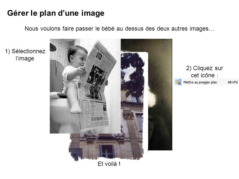 Gérer le plan dune image Nous voulons faire passer le bébé au dessus des deux autres images… 1) Sélectionnez limage 2) Cliquez sur cet icône : Et voilà !