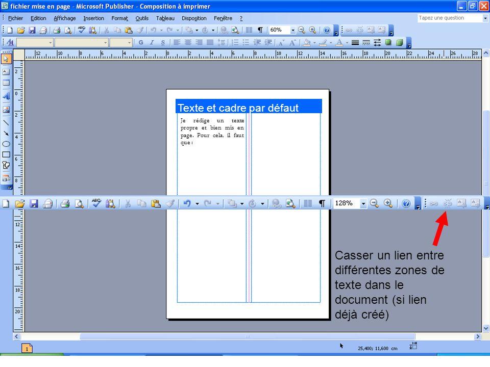 Texte et cadre par défaut Je rédige un texte propre et bien mis en page.