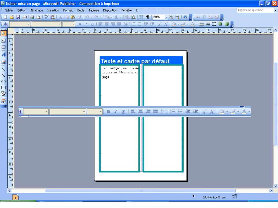 Texte et cadre par défaut Je rédige un texte propre et bien mis en page