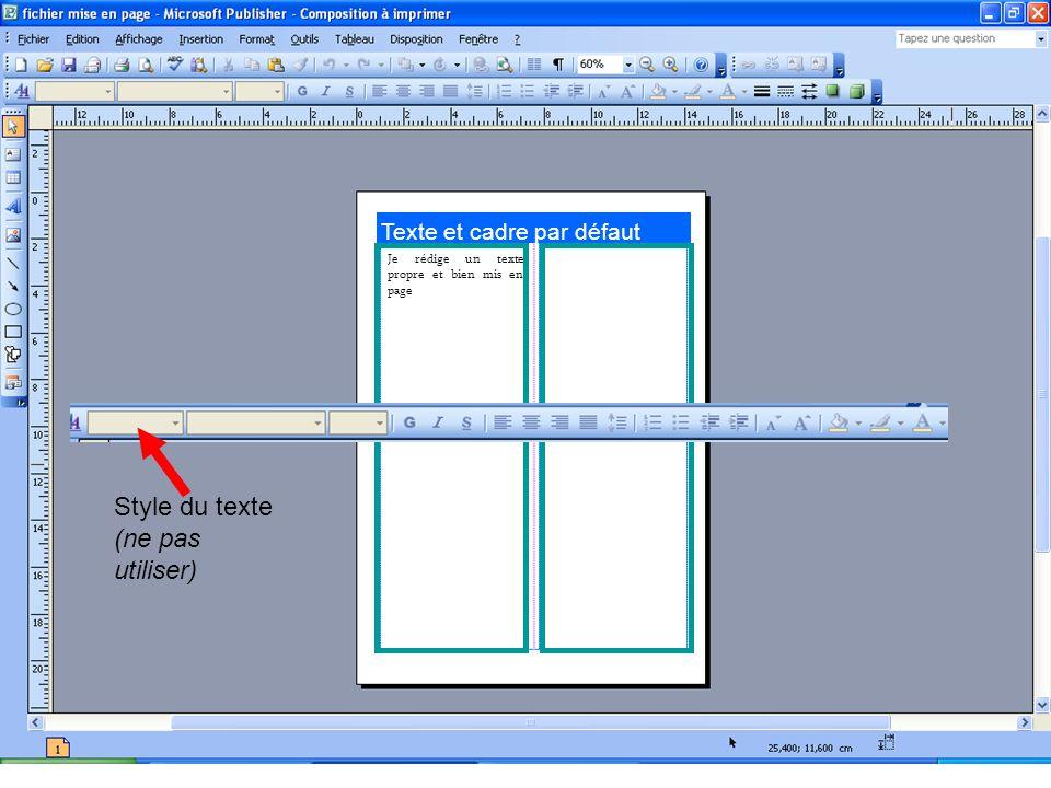 Texte et cadre par défaut Je rédige un texte propre et bien mis en page Style du texte (ne pas utiliser)