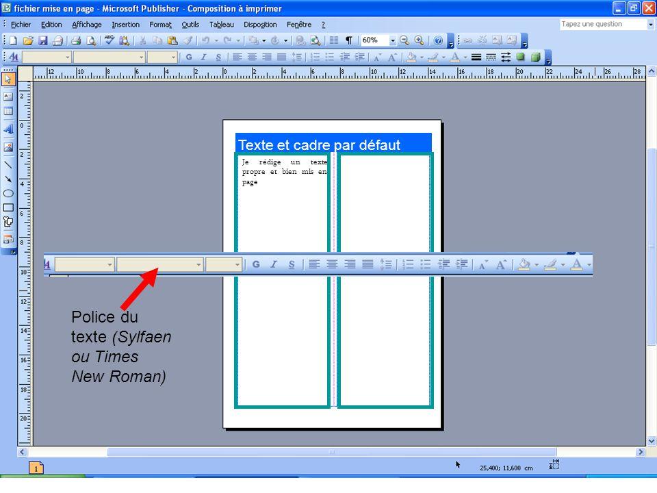 Texte et cadre par défaut Je rédige un texte propre et bien mis en page Police du texte (Sylfaen ou Times New Roman)