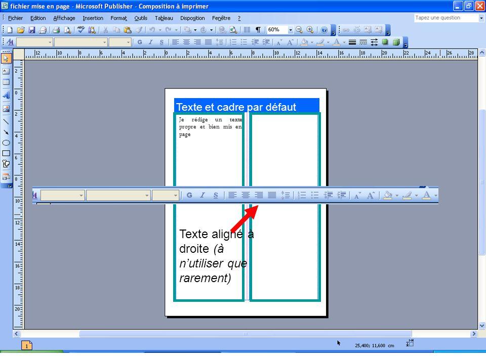 Texte et cadre par défaut Je rédige un texte propre et bien mis en page Texte aligné à droite (à nutiliser que rarement)