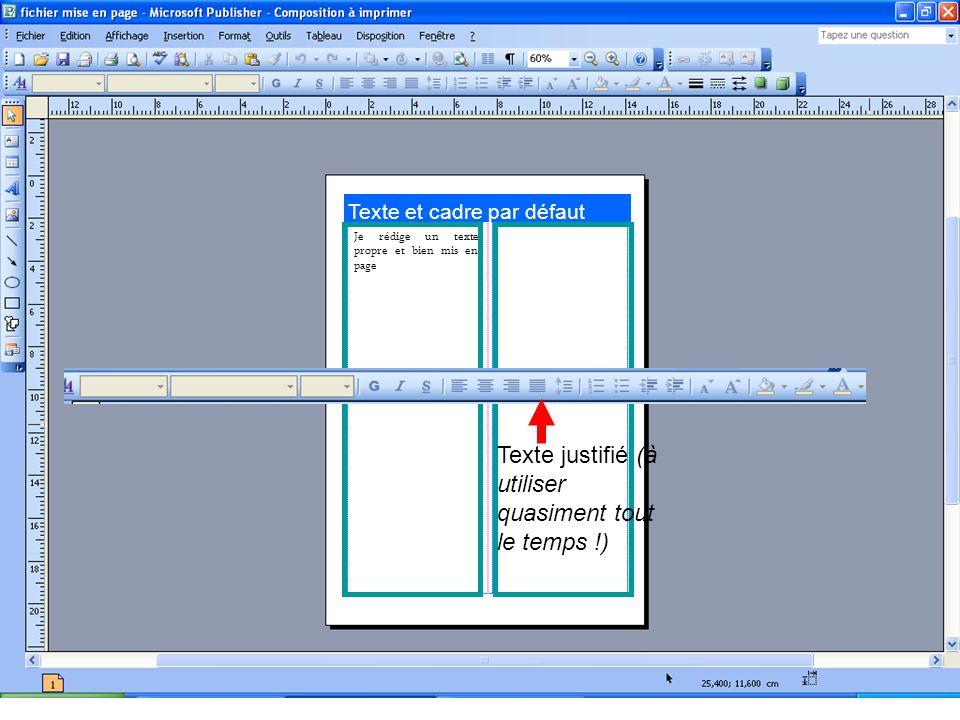 Texte et cadre par défaut Je rédige un texte propre et bien mis en page Texte justifié (à utiliser quasiment tout le temps !)