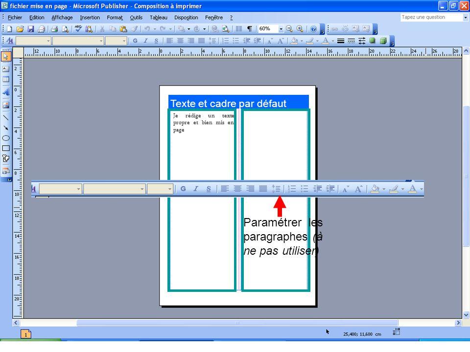 Texte et cadre par défaut Je rédige un texte propre et bien mis en page Paramétrer les paragraphes (à ne pas utiliser)
