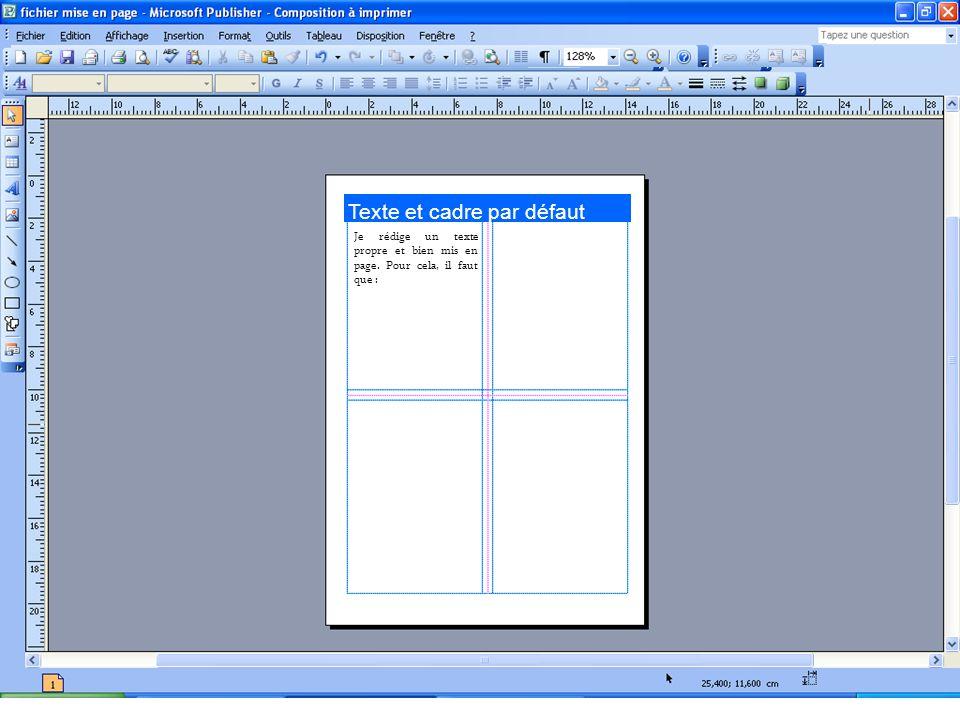 Texte et cadre par défaut Je rédige un texte propre et bien mis en page. Pour cela, il faut que :