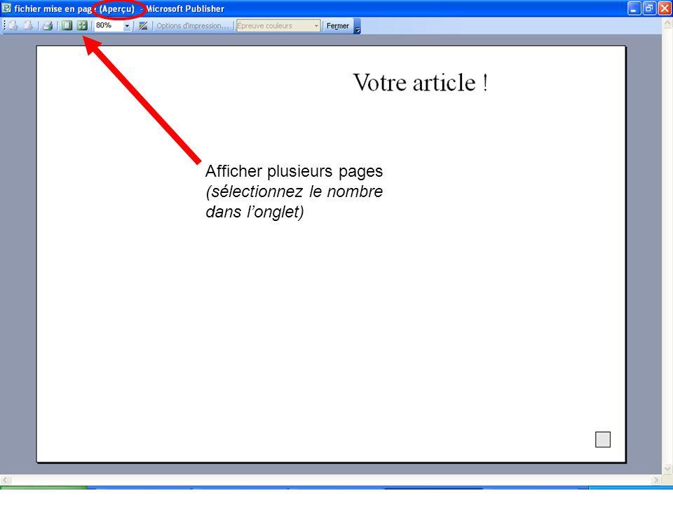 Afficher plusieurs pages (sélectionnez le nombre dans longlet)