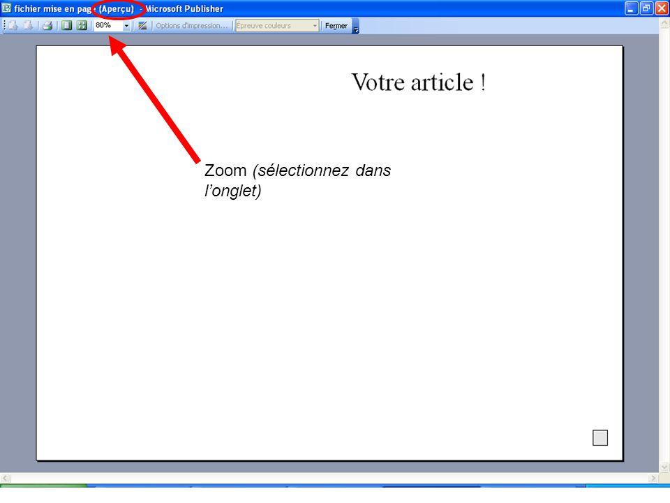 Zoom (sélectionnez dans longlet)