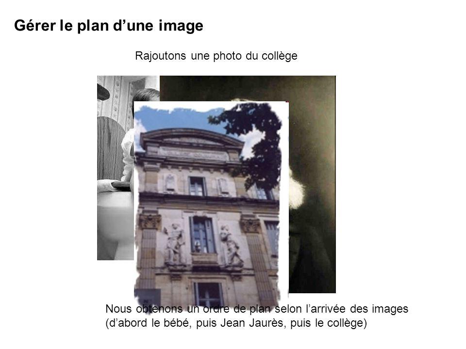 Gérer le plan dune image Rajoutons une photo du collège Nous obtenons un ordre de plan selon larrivée des images (dabord le bébé, puis Jean Jaurès, puis le collège)