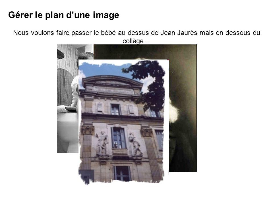 Gérer le plan dune image Nous voulons faire passer le bébé au dessus de Jean Jaurès mais en dessous du collège…