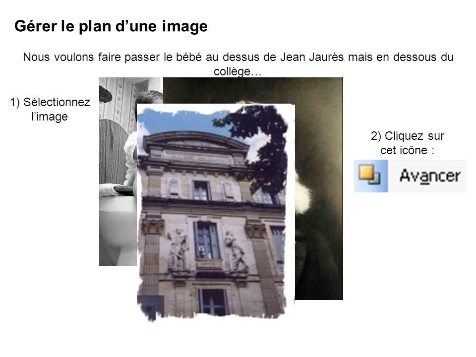 Gérer le plan dune image Nous voulons faire passer le bébé au dessus de Jean Jaurès mais en dessous du collège… 1) Sélectionnez limage 2) Cliquez sur cet icône :