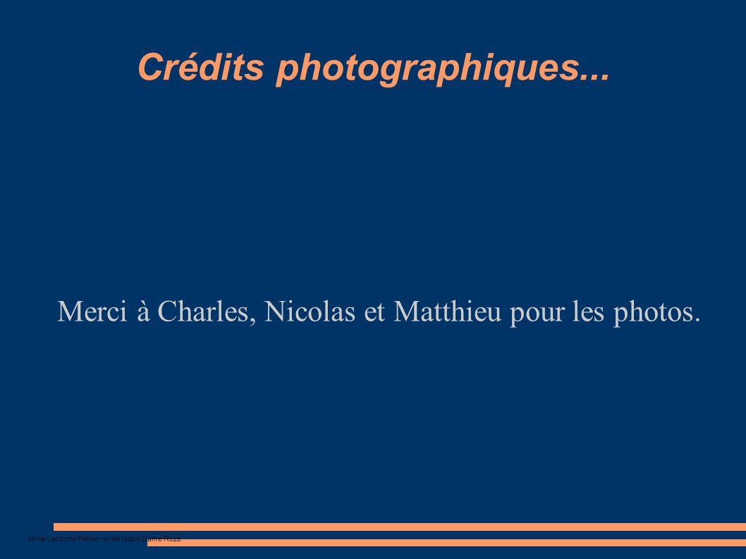 Mme Laroche Peltier lycée Notre Dame Rezé Crédits photographiques... Merci à Charles, Nicolas et Matthieu pour les photos.