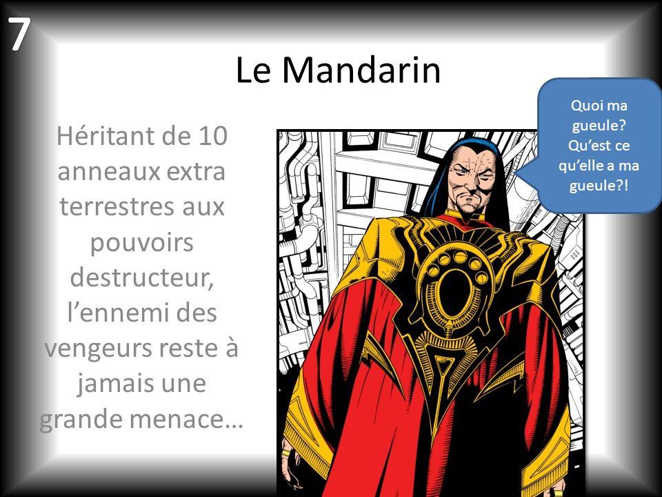 Le Mandarin Héritant de 10 anneaux extra terrestres aux pouvoirs destructeur, lennemi des vengeurs reste à jamais une grande menace… Quoi ma gueule.