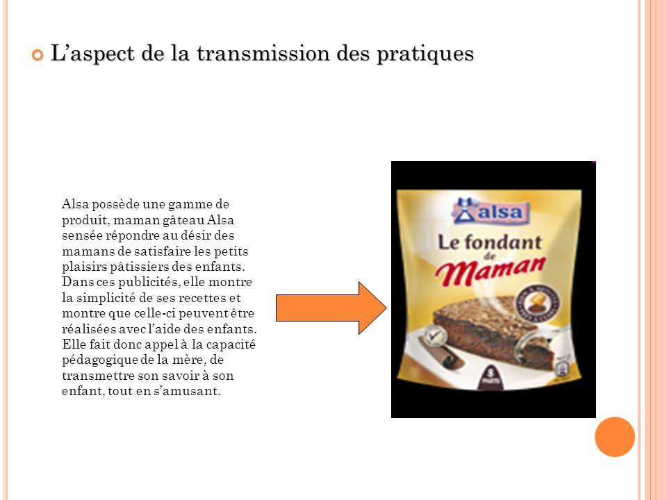 Laspect de la transmission des pratiques Laspect de la transmission des pratiques Alsa possède une gamme de produit, maman gâteau Alsa sensée répondre