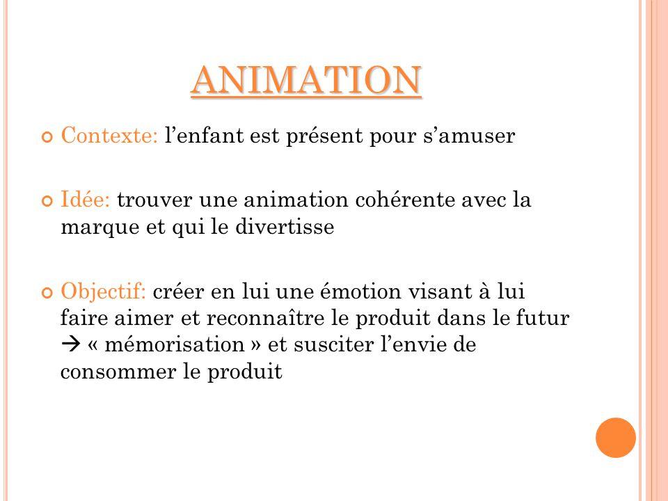 ANIMATION Contexte: lenfant est présent pour samuser Idée: trouver une animation cohérente avec la marque et qui le divertisse Objectif: créer en lui