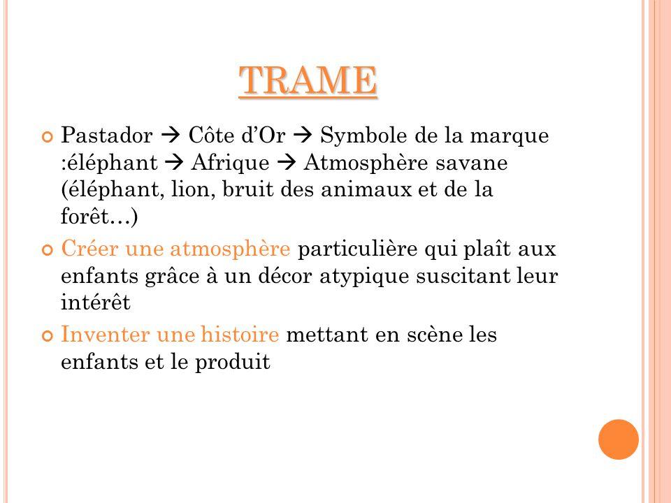 TRAME Pastador Côte dOr Symbole de la marque :éléphant Afrique Atmosphère savane (éléphant, lion, bruit des animaux et de la forêt…) Créer une atmosph