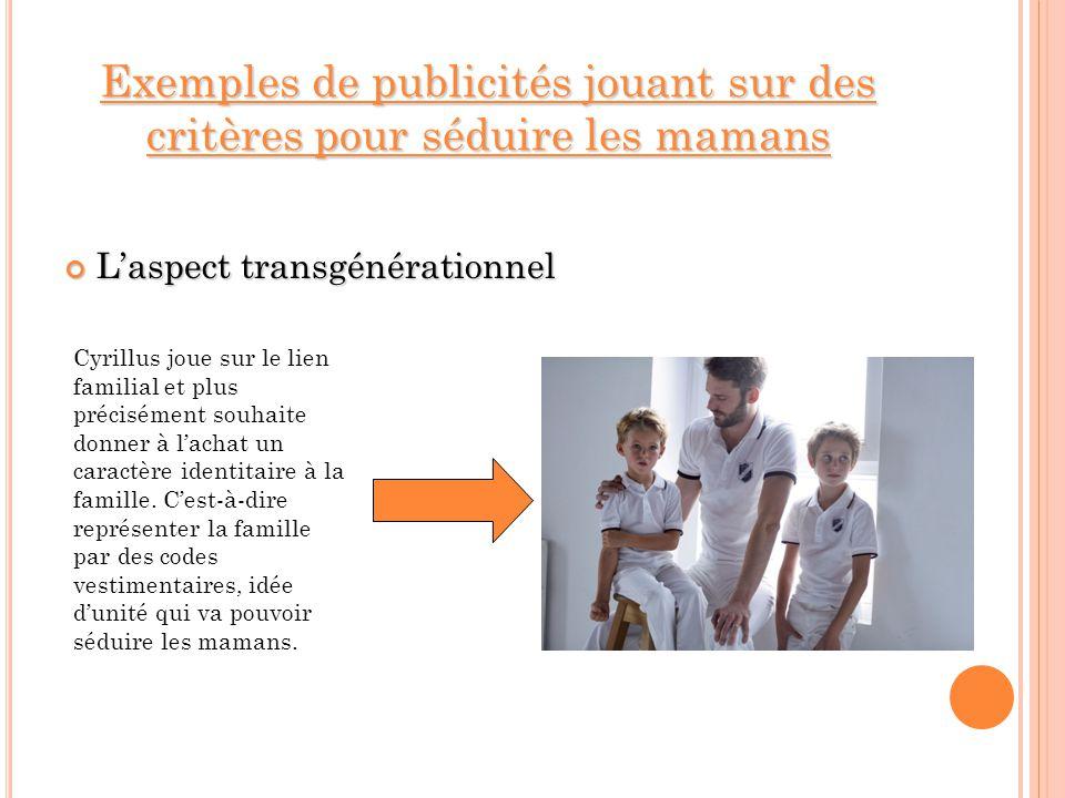 Exemples de publicités jouant sur des critères pour séduire les mamans Laspect transgénérationnel Laspect transgénérationnel Cyrillus joue sur le lien